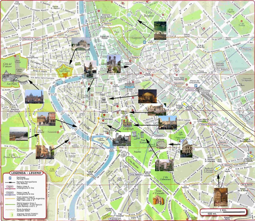 Map Of Rome With Attractions Rome Pinterest Rome Italy And