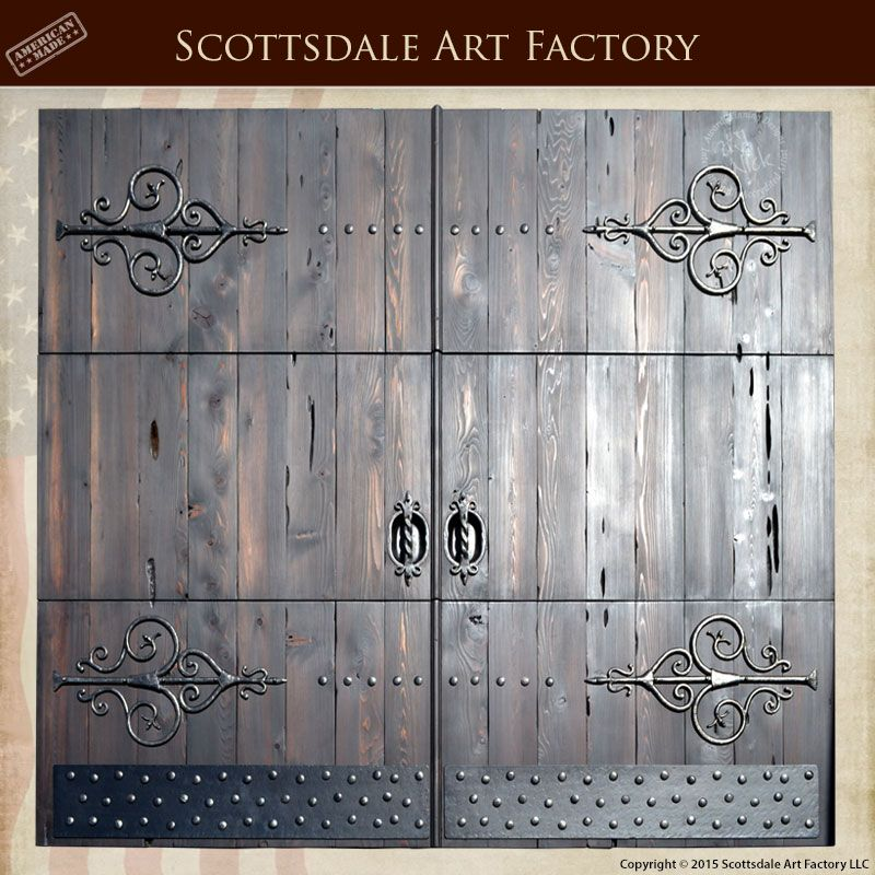 Carriage Doors With Hand Forged Wrought Iron Hardware