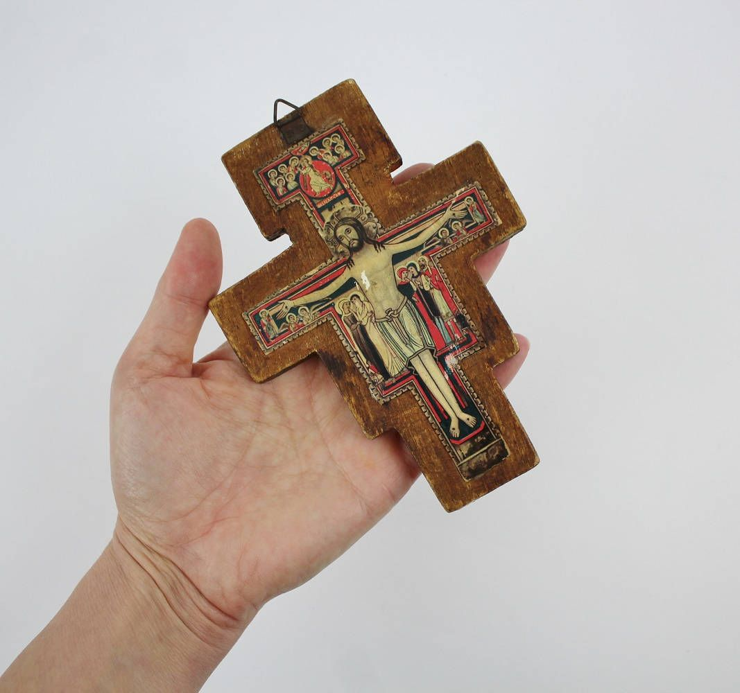 Cross Wall Hanging vintage san damiano crucifix cross wall hanging - wooden cross of