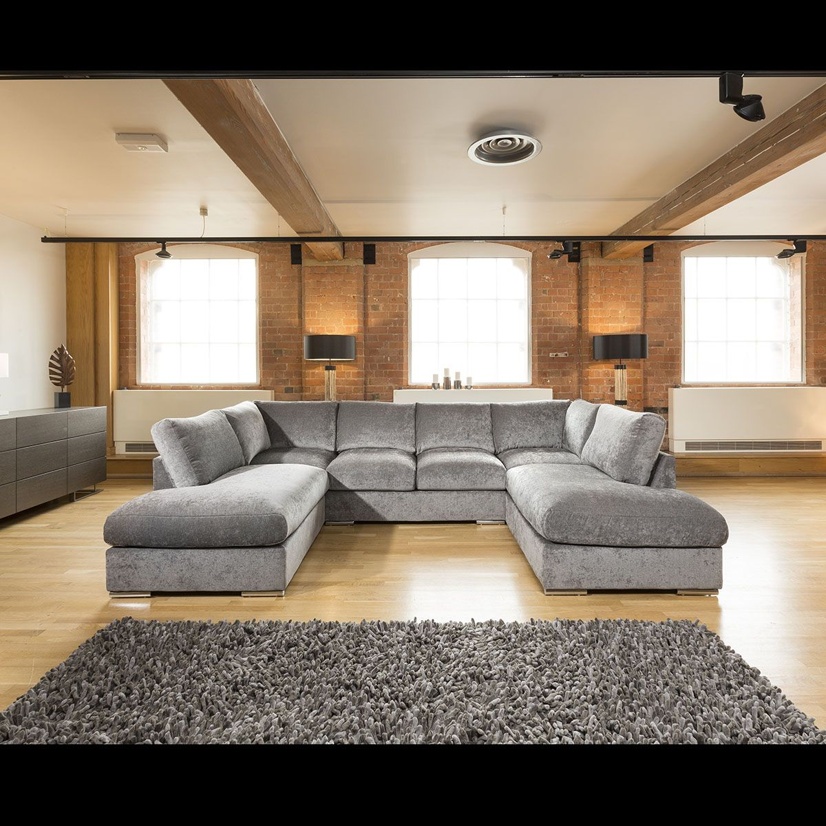 Quatropi Large Corner Sofa Group U Shaped Grey 3.3 x 2.1m