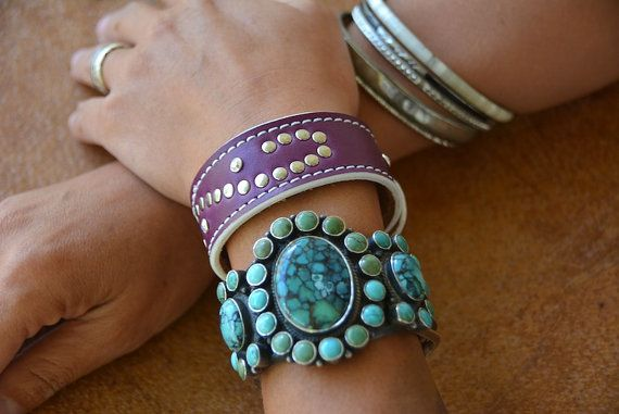 Jolene Purple Aubergine Plum Leather Cuff Bracelet Scroll Design Swarovski Crystal Rivets Handmade Bohemian Southwest Leather Cuff Jewelry