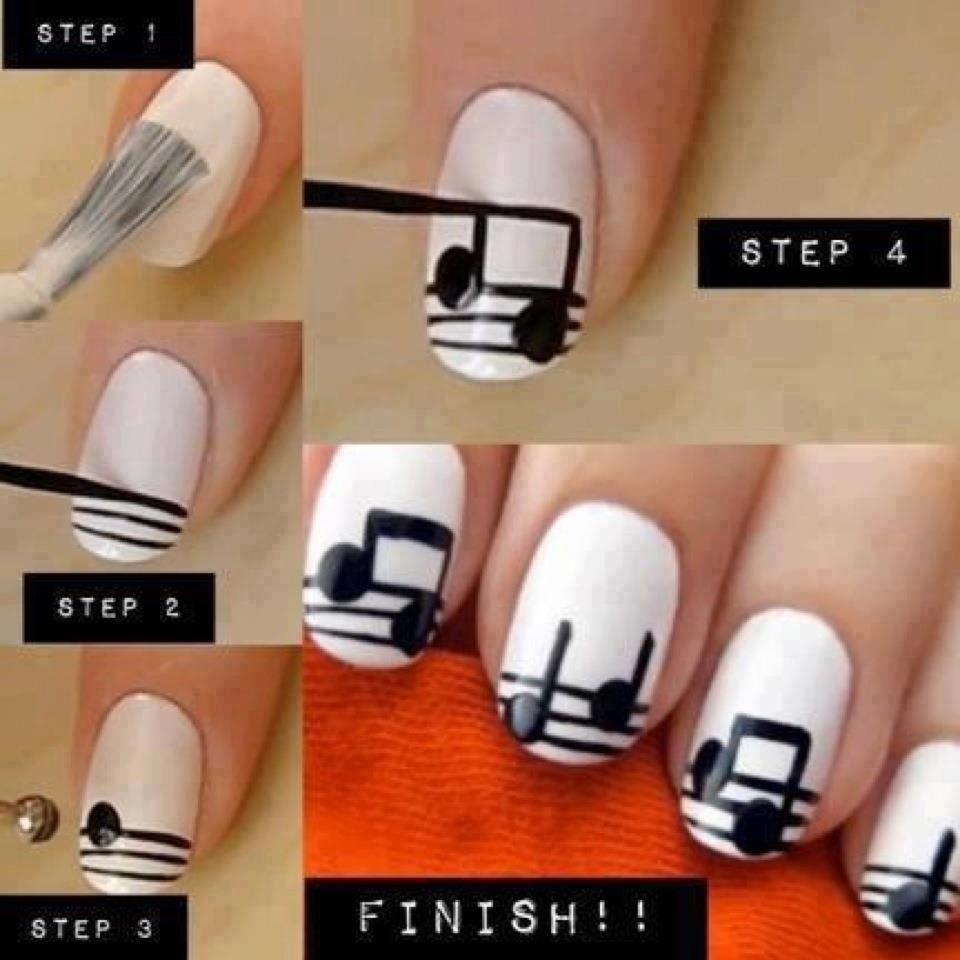 Ealing Diy Musical Notes Nail Art Design With Simple Tutorial And Black White Color Scheme