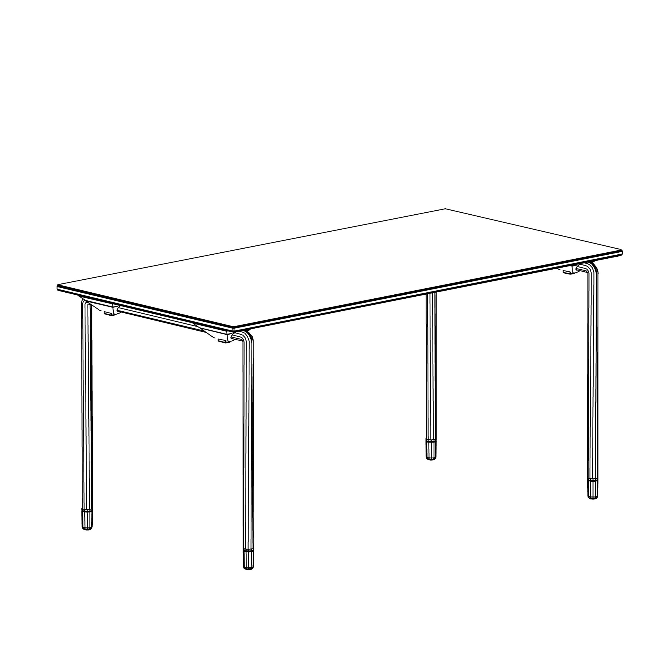 furniture sketch of the table plico designed by komplot