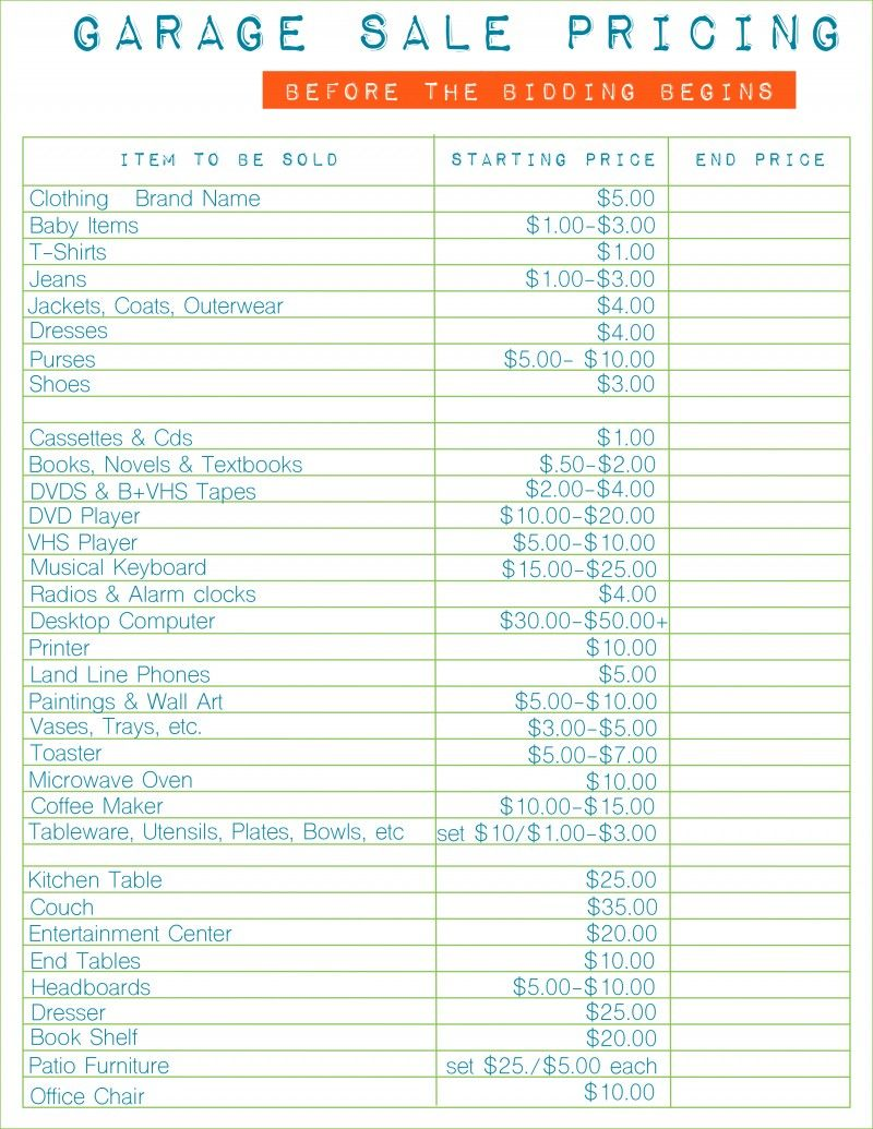 image relating to Printable Garage Sale Price List identified as How in the direction of Host the Ideal Garage Sale Printable Mounted Cookie