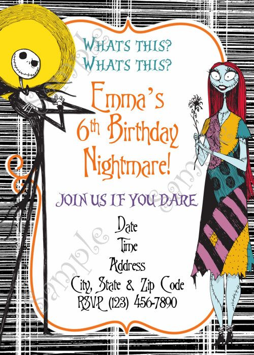 The Nightmare Before Christmas Invitation Nightmare Befo Nightmare Before Christmas Kids Christmas Birthday Invitations Nightmare Before Christmas Decorations