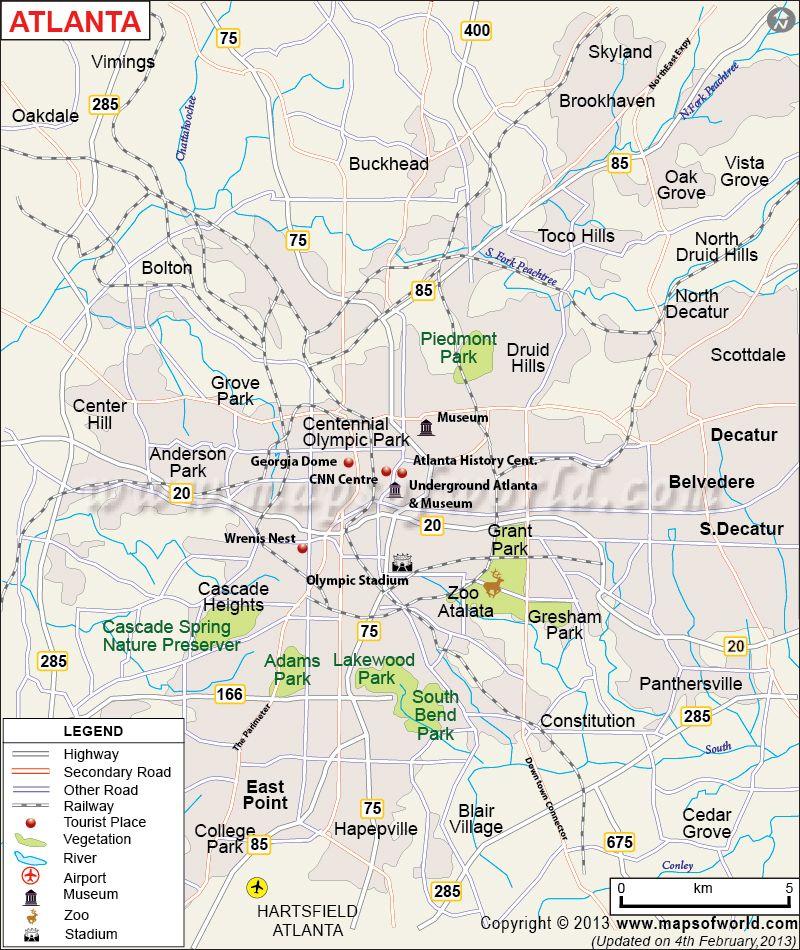 Atlanta City Map Stuff Pinterest Atlanta City City Maps And - Georgia cities map