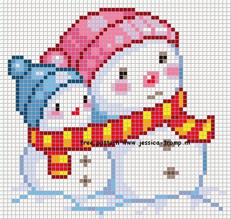 Patr n para hacer este bonito dibujo de mu ecos de nieve - Dibujos para hacer punto de cruz ...