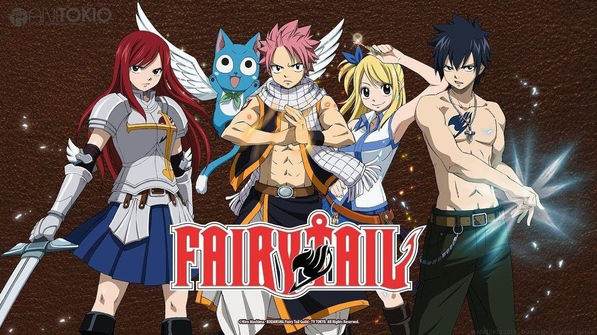 Erza, Happy, Natsu, Lucy, Gray Fairy tale anime, Fairy