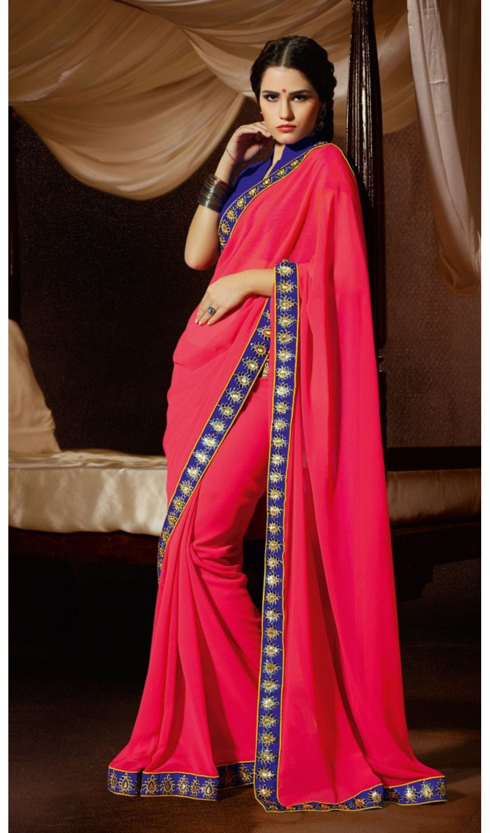 Elegant Look Pinkish Peach Color Faux Georgette Party Wear Sarees