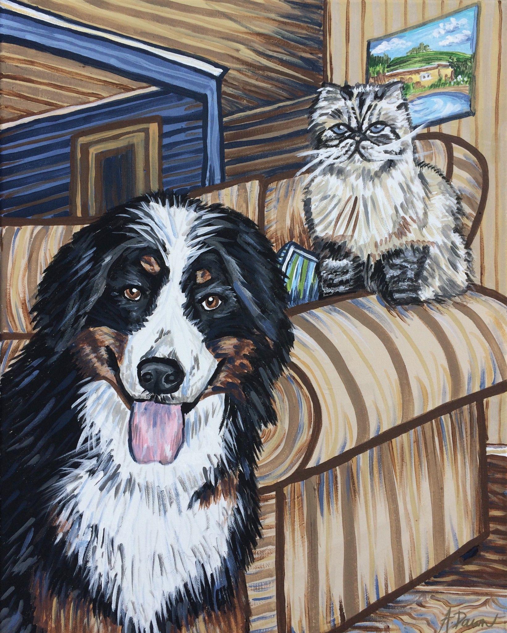 Murphy And Chloe 2016 Acrylic On Canvas Painting Fine Art Modern Impressionism Pets Pet Art Pet Portrait Dog Cat Modern Impressionism Animal Art Art