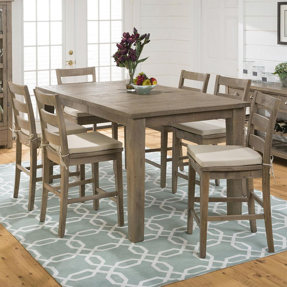 Jofran 941 42 Slater Mill Pine Expandable Counter Height Dining Table  Reclaimed Look