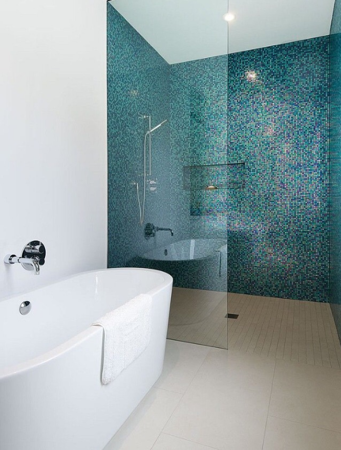 This Minimal Bathroom Reminds Us Of Back To The Future It Must Be Psychedelic Effect Aqua Wall Tiles Clear Gl Shower Door