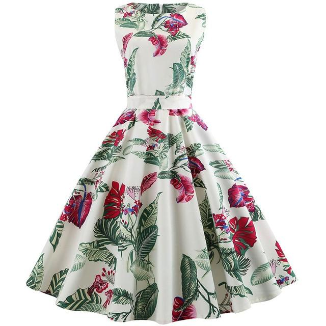 fd0d5b1c57fd1 Summer Women Dress Plus Size Casual Midi Work Office Party Sundres  Sleeveless Floral Print Elegant Vintage Pin up Dresses jurken