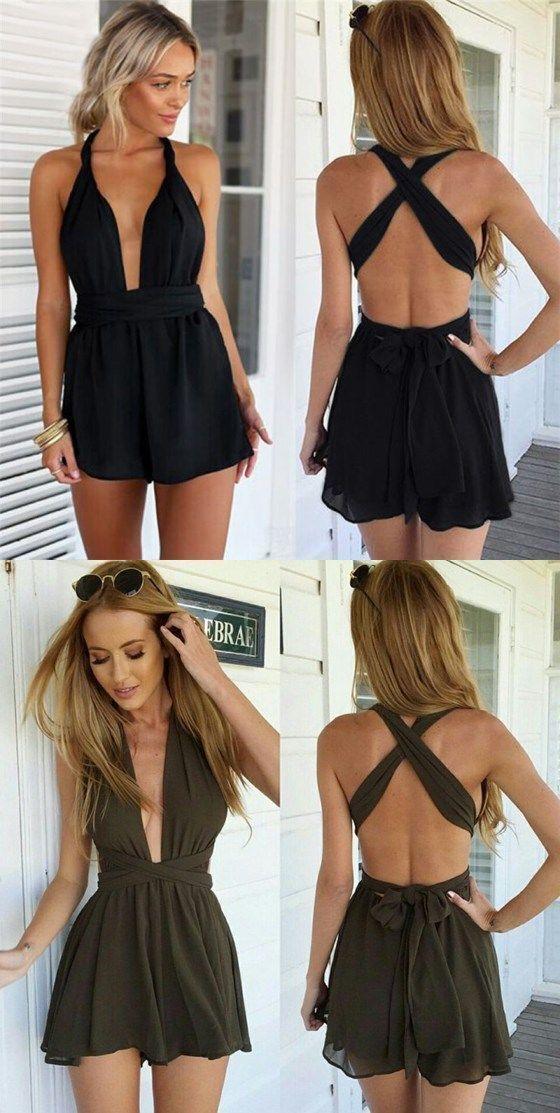 Hot Sexy Deep V-Neck Halter Backless Short Black Homecoming Dress 0592