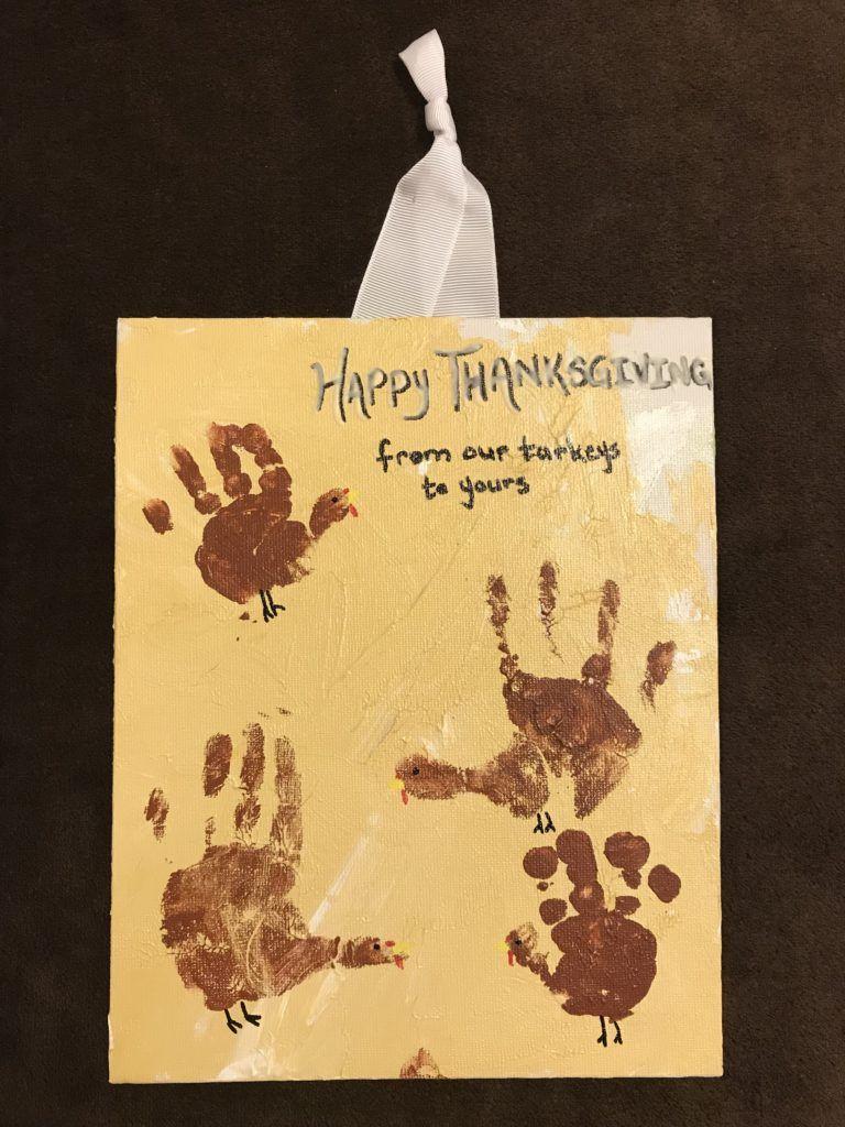 Thanksgiving Turkey Handprint Door Sign | Turkey handprint