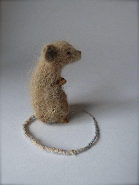 Pale rook needle felt mouse