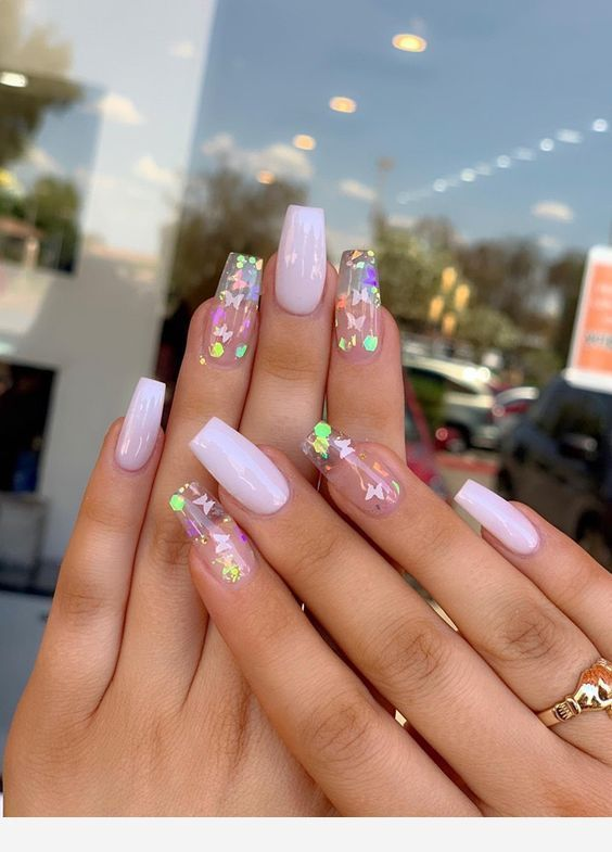 White And Transparent Long Nails Pretty Acrylic Nails Best Acrylic Nails Fire Nails