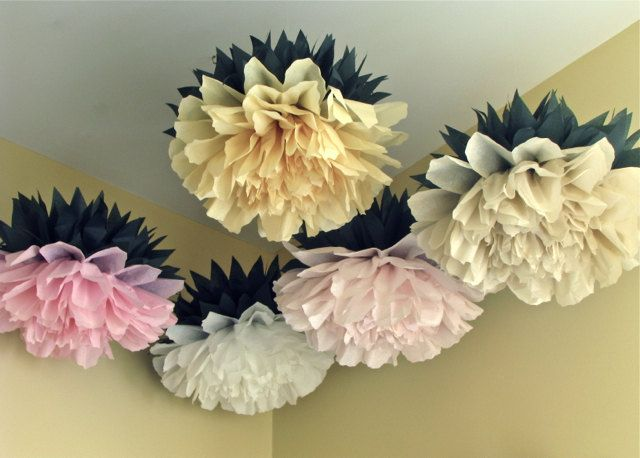 Lucky Peony 5 Giant Tissue Paper Pom Flowers Peonies Hang Wall
