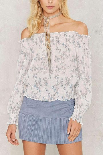 Bateau Transparent Chiffon Top In Sweet Floral Print Pattern from mobile - US$13.95 -YOINS