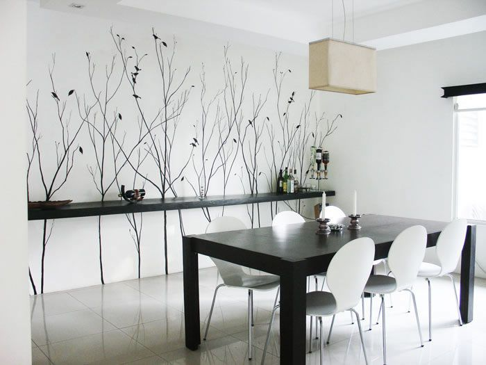 black + white theme, really like the long floating shelf along the ...