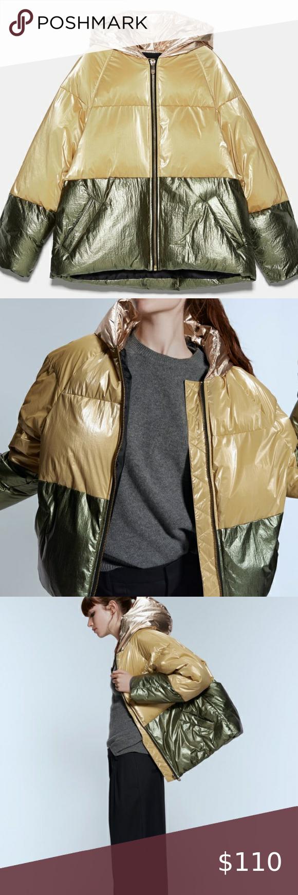 Zara Golden Block Color Puffer Jacket Jackets Zara Puffer Jackets [ 1740 x 580 Pixel ]
