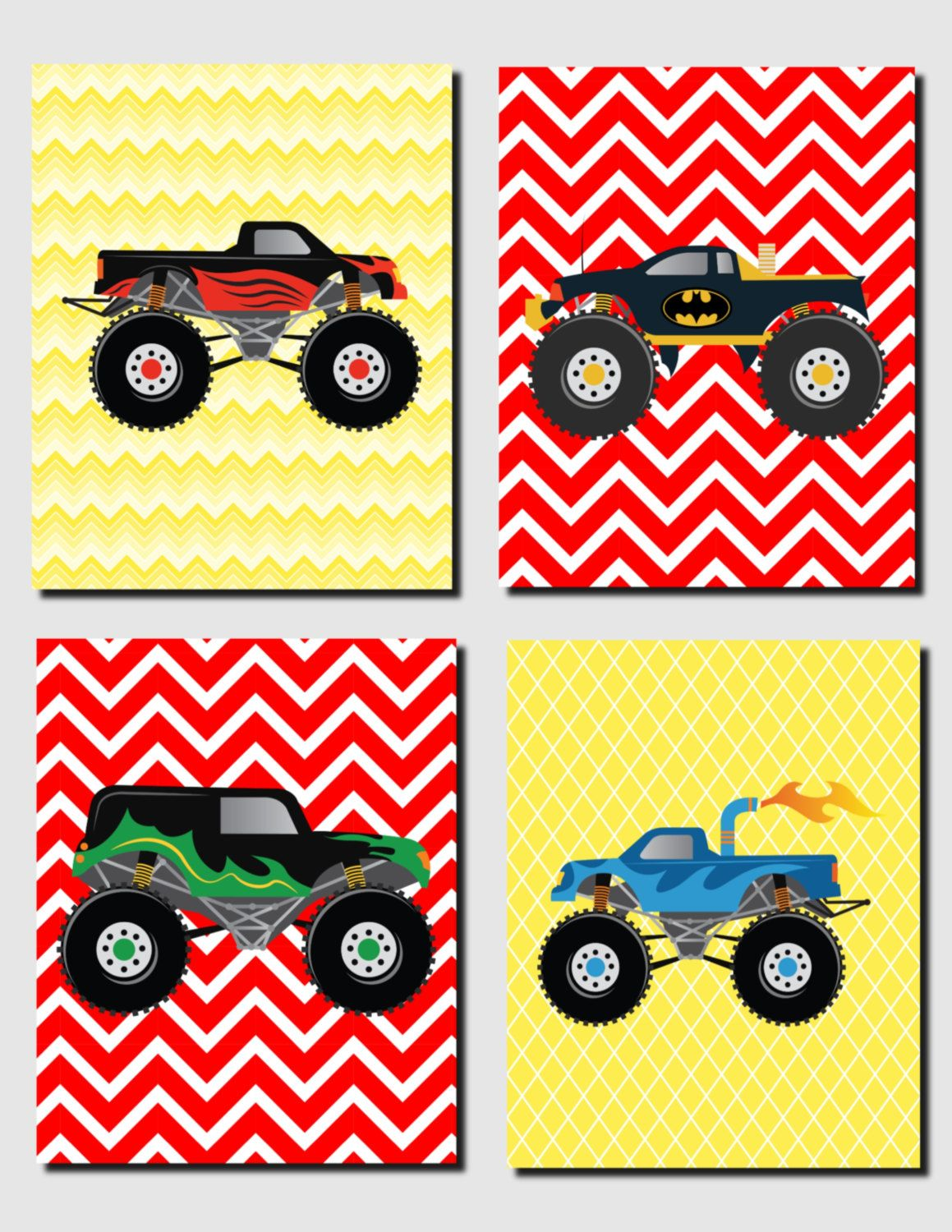 Printable Nursery Art Monster Trucks Art Baby BoyNursery Art Kids ...