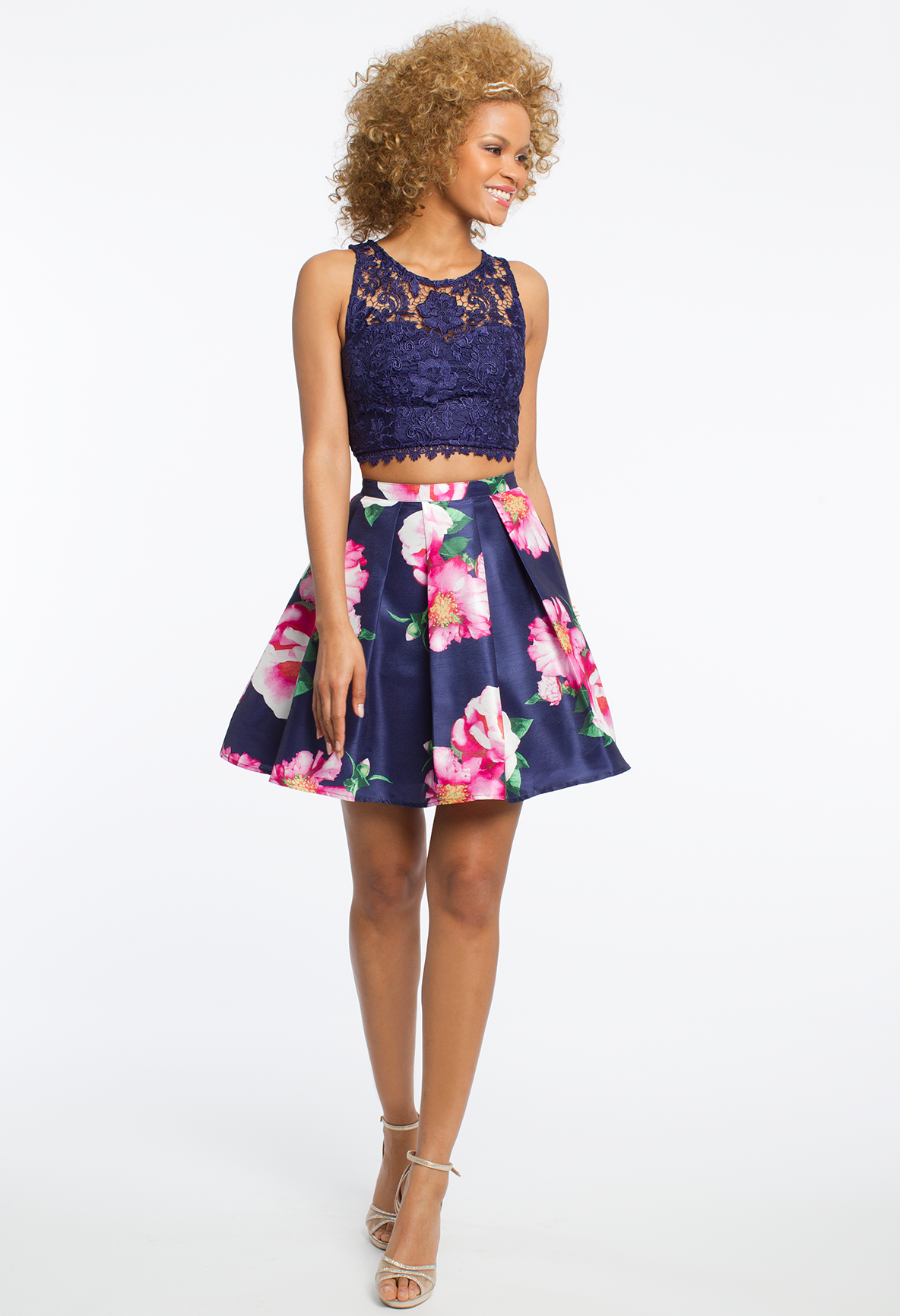 41f54948f93146 Lace Crop Top and Floral Skirt Two-Piece Dress #camillelavie #CLVprom