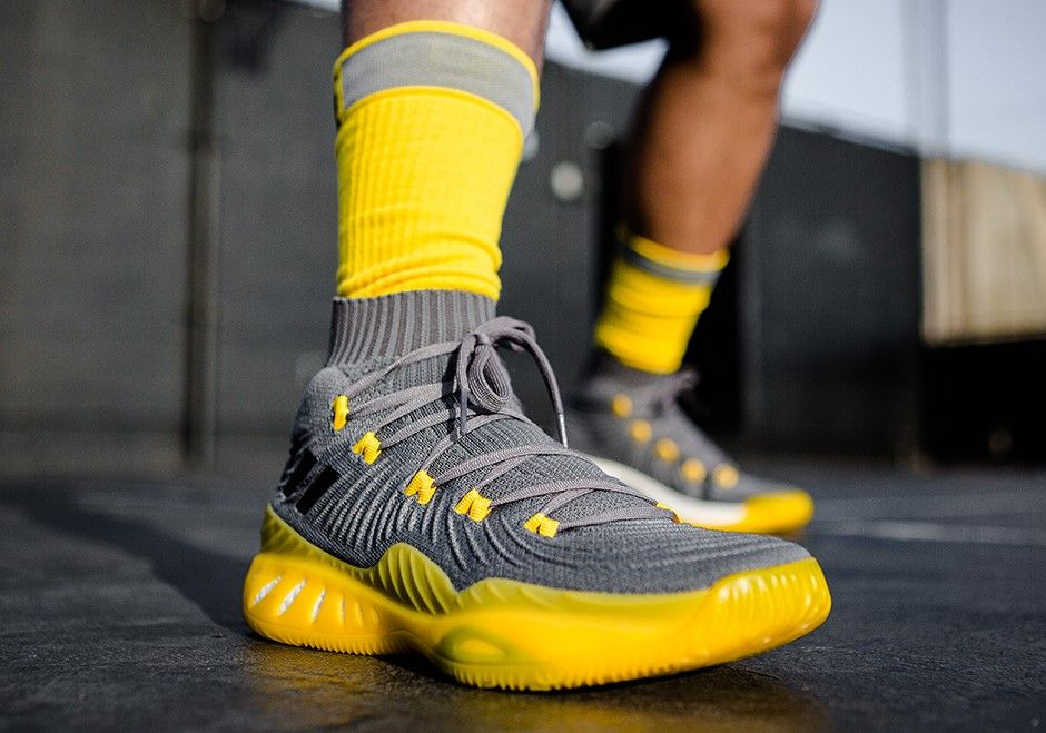 new style 6d3bd c8bb7 Adidas Crazy Explosive 17 Primeknit Grey Release Date July 27, 2017  Original Price 150 Colors Light GreySolar Yellow Style Code CQ1396