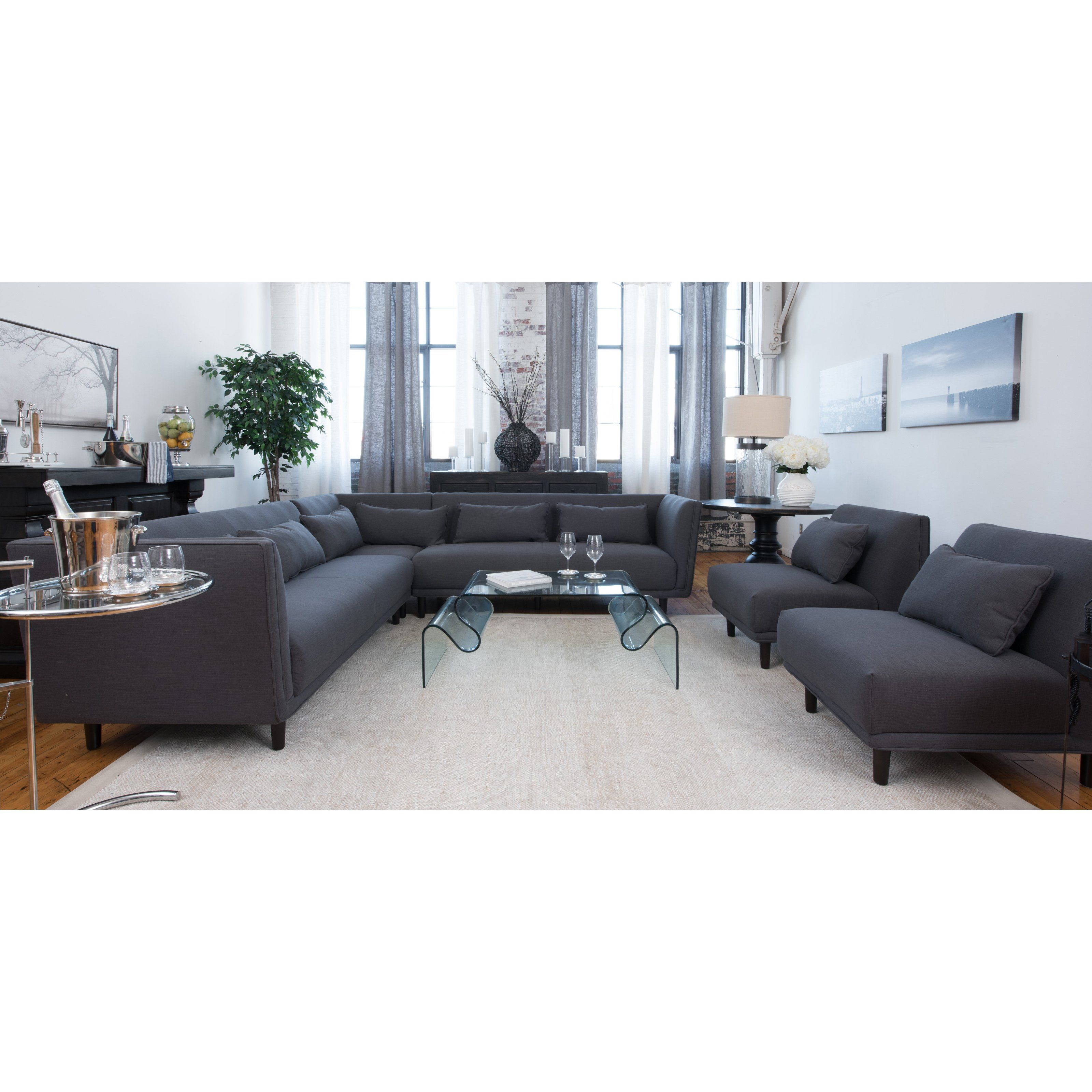 Manhattan Fabric Collection 3 Piece Dual Loveseat Sectional and
