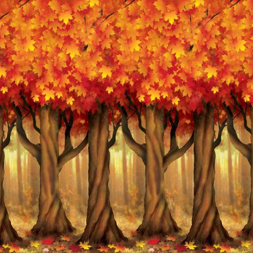 Fall Trees Backdrop Party Accessory Party Fall - halloween scene setters decorations