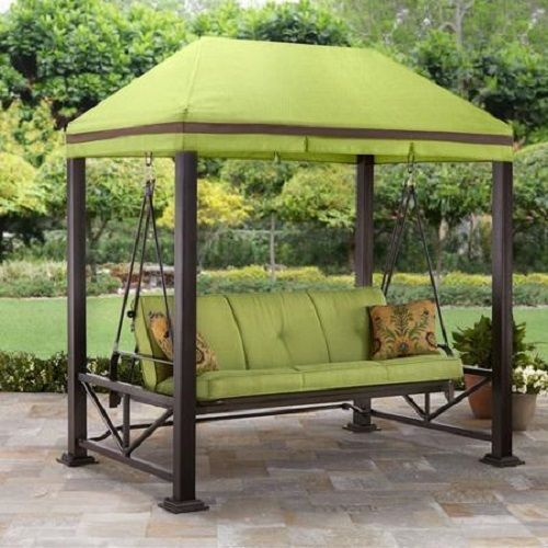 Outdoor Patio 3 Person Swing Sturdy 3 1/8 Steel Posts With Hidden Anchor  System