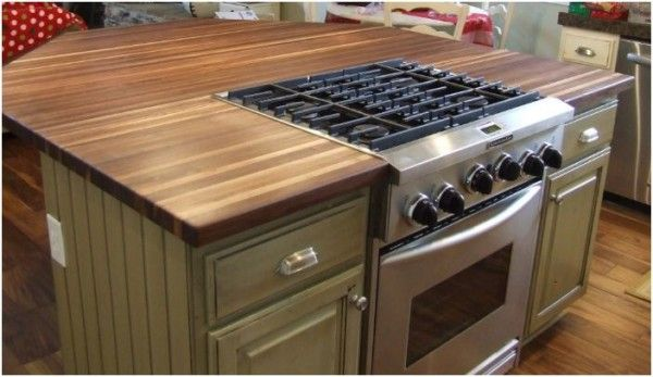 Will butcher block work on the island with a cooktop and a - Kitchen island with cooktop and prep sink ...