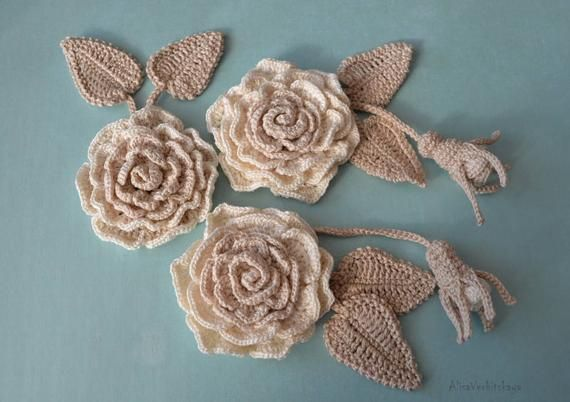 Сrochet set 3 pcs Сrochet flower Irish crochet Flower applique Crochet jewelry Flower necklace Irish crochet collar Wedding set flowers #irishcrochetflowers
