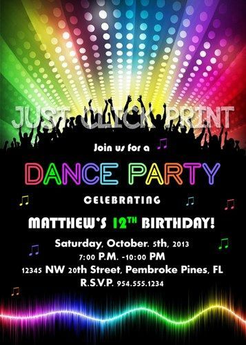 Neon Glow Dance Party Birthday Party Invitation Printable Dance
