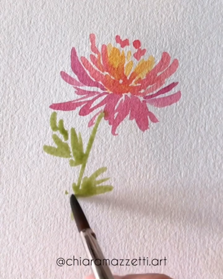 Dahlia, loose watercolor flower #peachideas