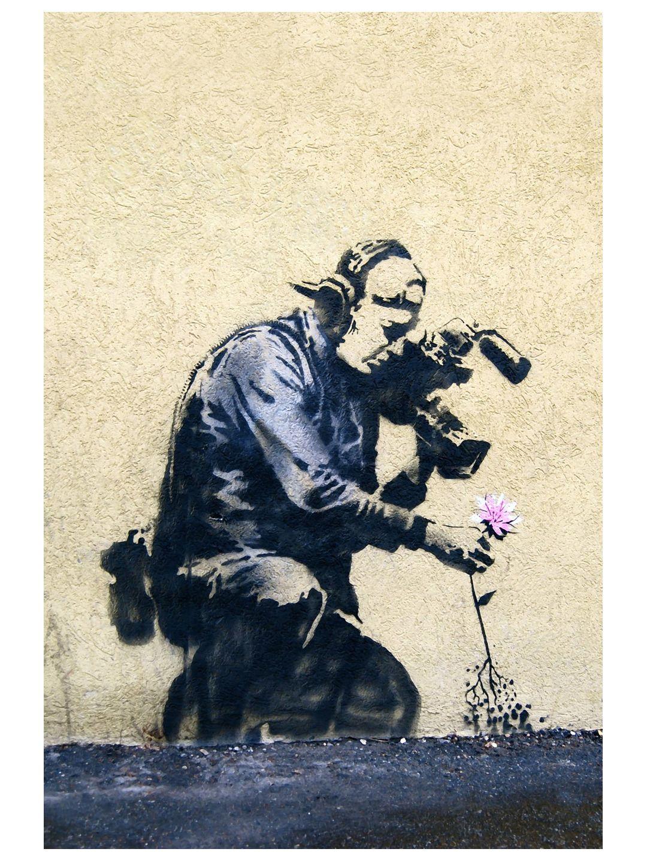 Camera Man and Flower Banksy art