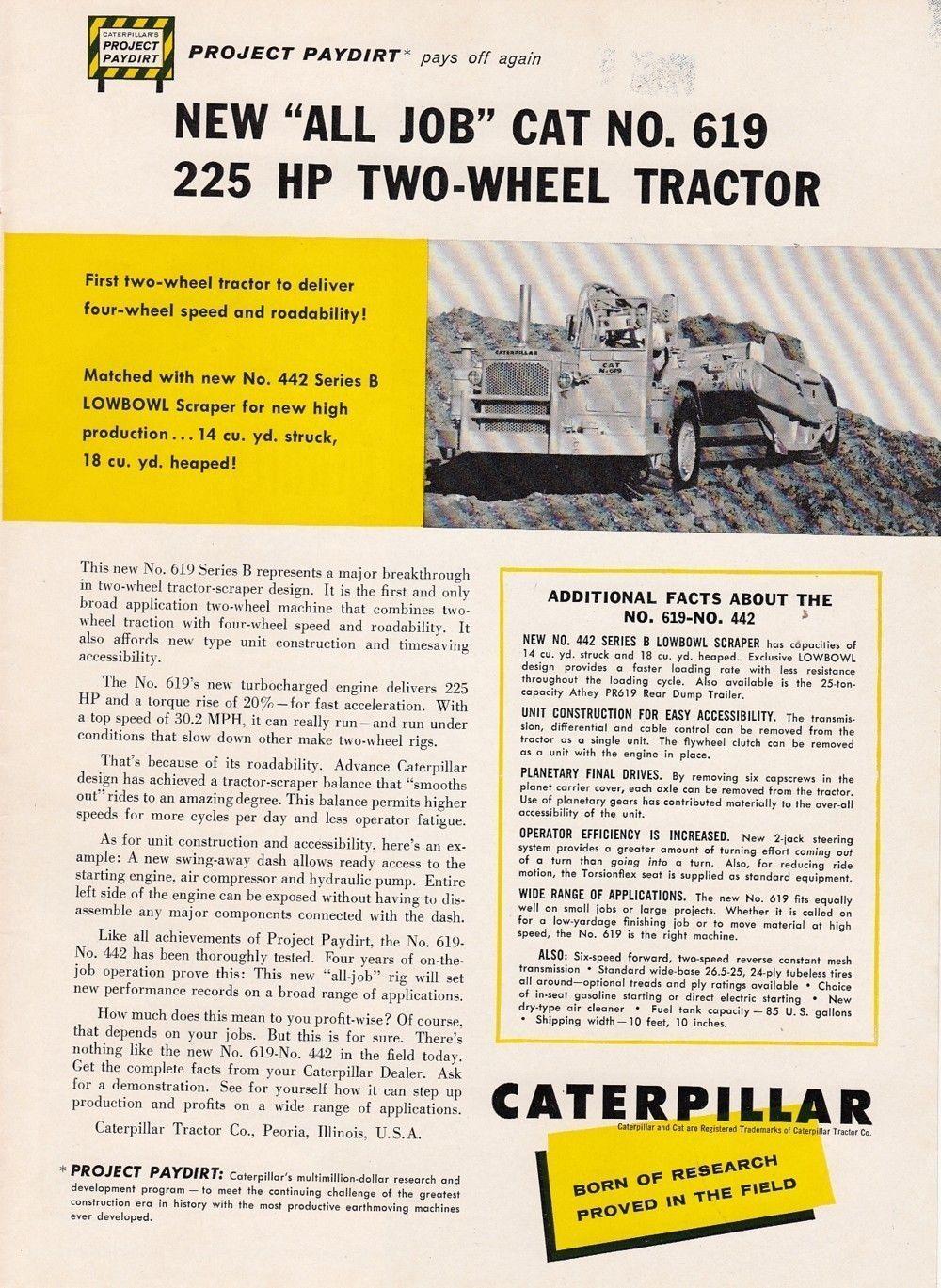 1959 Caterpillar Tractor Co Peoria IL Ad Cat No 619 Two Wheel ...