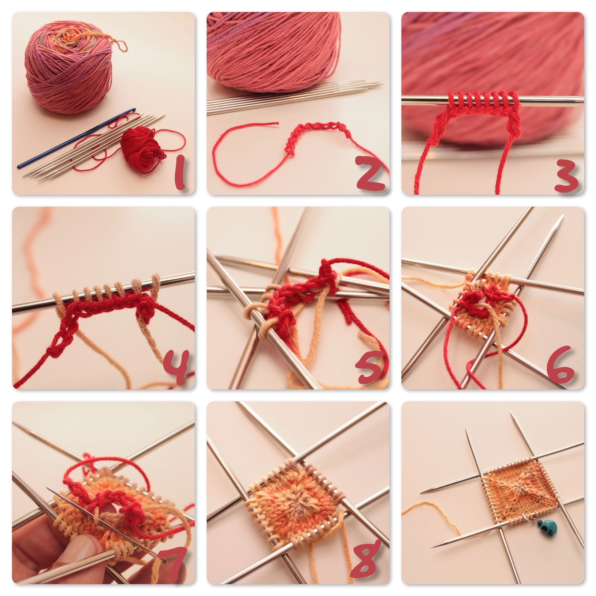 f102dd22d How to knit a flat square or circle starting at the center using a ...