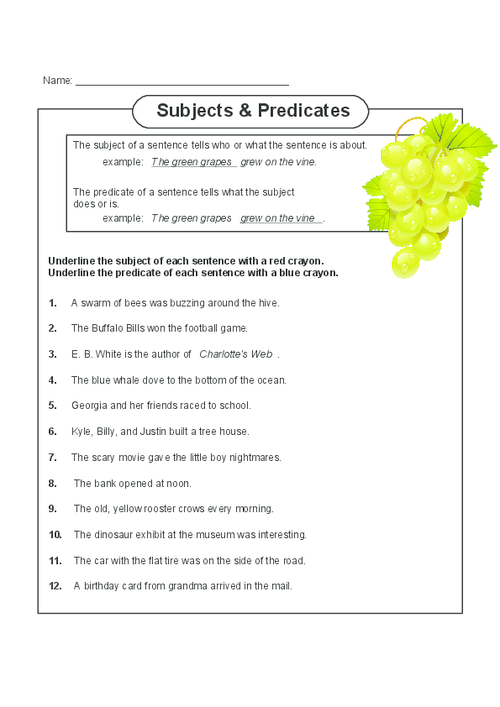Complete Subject and Complete Predicate | Worksheets for kids ...