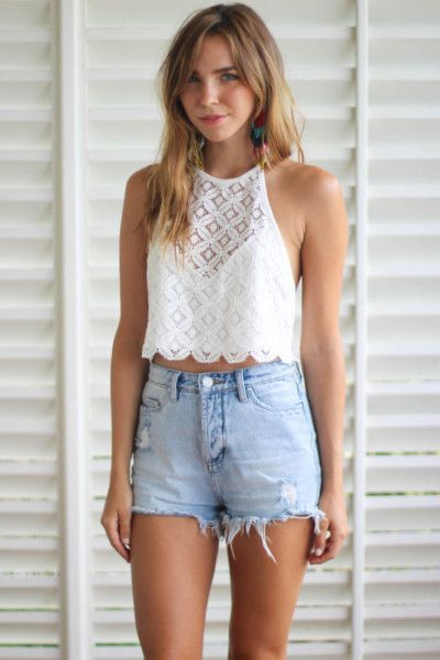 Cute White Top & High Waisted Shorts http://www.studentrate.com ...