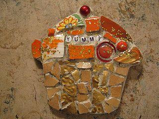 """Yummy"" orange mosaic cupcake, mosaic art."