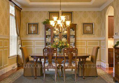 Beautiful walls, simple dining room.