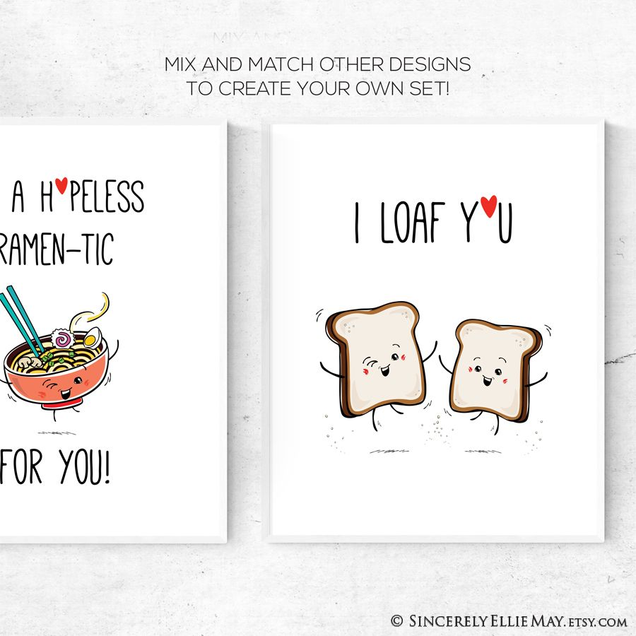 Funny Boyfriend Husband Valentines Day Gift For Him Cute Sappy Love Quotes I Loaf You Kawaii Room Decor Printable You Print 40740 In 2021 Sappy Love Quotes Boyfriend Humor Funny Wall Art