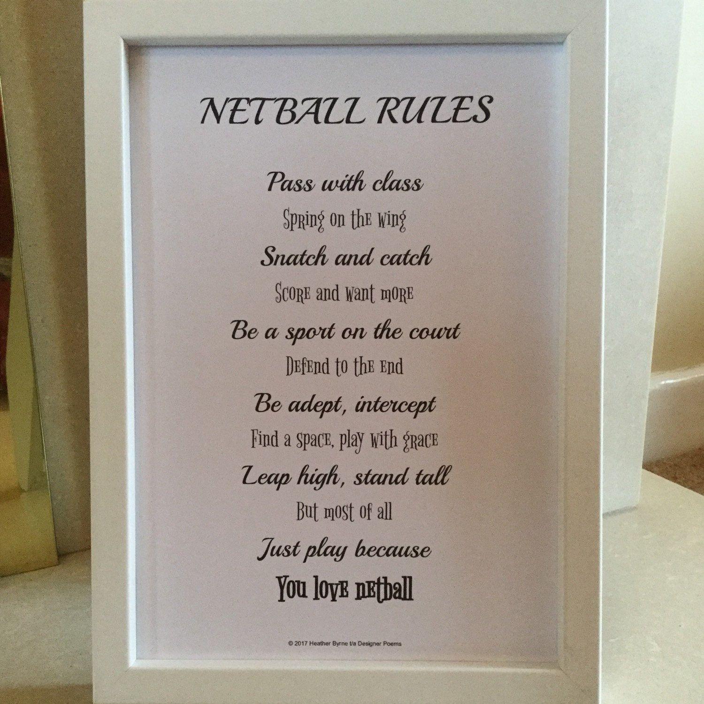 Netball poem, netball rules poem, netball gift, netball