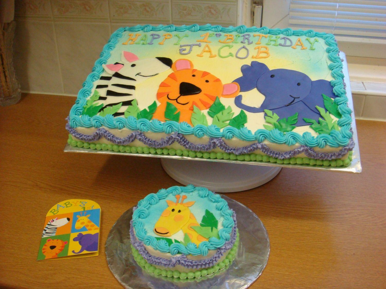 Baby's 1st Birthday Jungle Animals 1/2 Choc 1/2 Vanilla