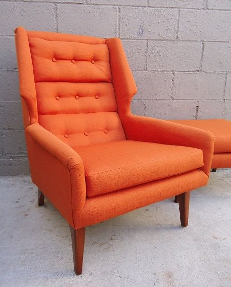 Mid Century Modern Wingback Chair And Ottoman By Rustygold73, $1100.00