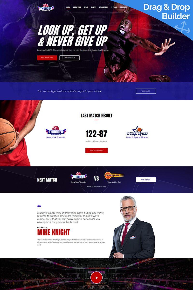 Thunder - Basketball Club Premium Moto CMS 3 Template #65309