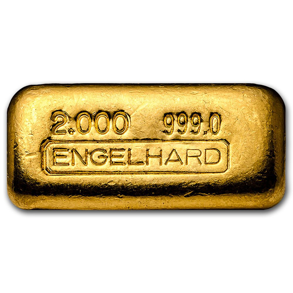 2 Oz Gold Bar Engelhard Poured 1st Generation 999 0 Fine Sku 93634