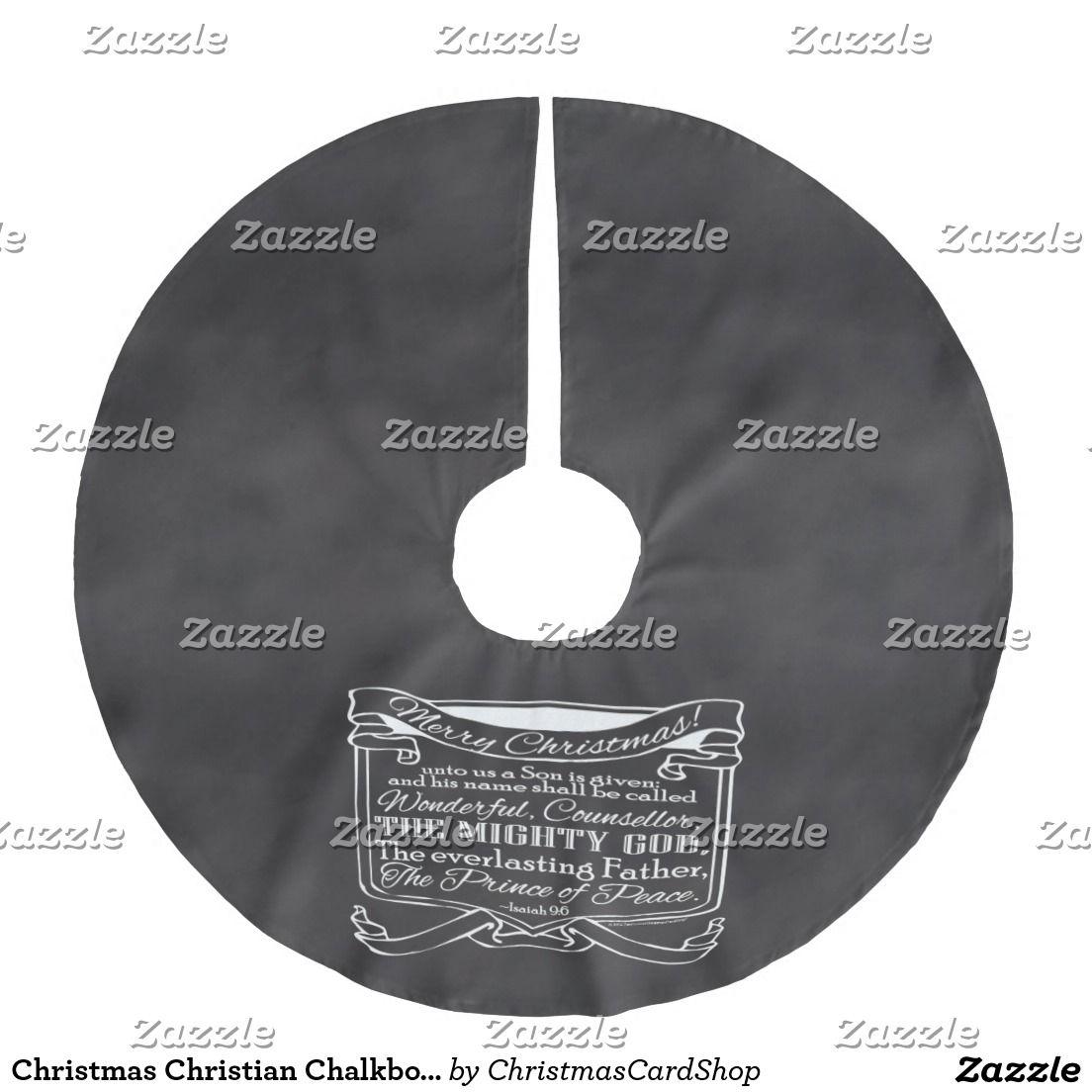 Christmas Christian Chalkboard Scripture Brushed Polyester Tree Skirt