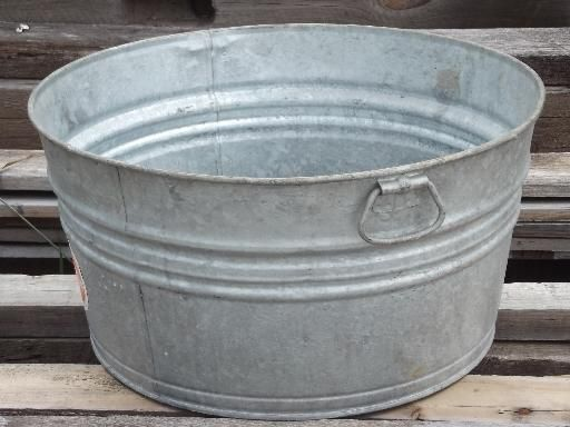 Old Wash Tub Galvanized Metal Washtub W Original Vintage Wheeling Label Metal Tub Wash Tubs Galvanized Wash Tub